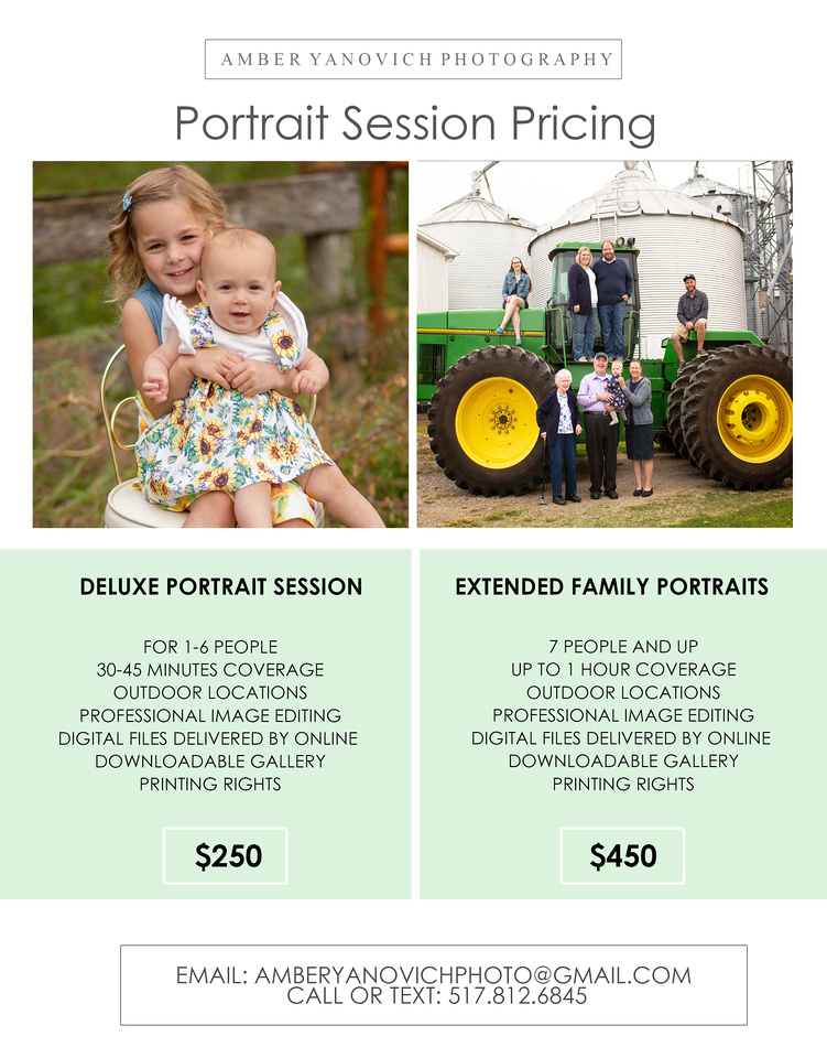 portrait Session Price Sheets 2021