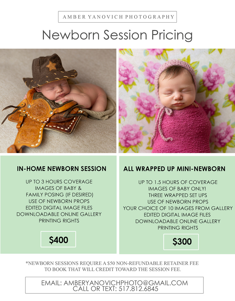 Newborn Session Price Sheets 2021