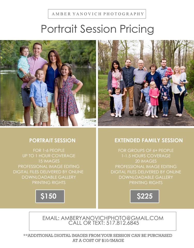 portrait Session Price Sheets 2017