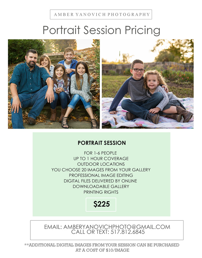 portrait Session Price Sheets 2018