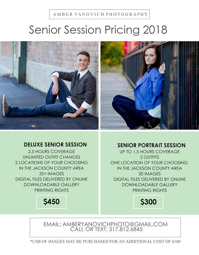 SENIOR Session Price Sheets 2018